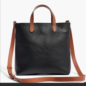 Madewell Transport Tote Zip Top Brown Black